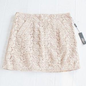 NWT ABS Platinum Allen Schwartz 12 Tan Lace Skirt